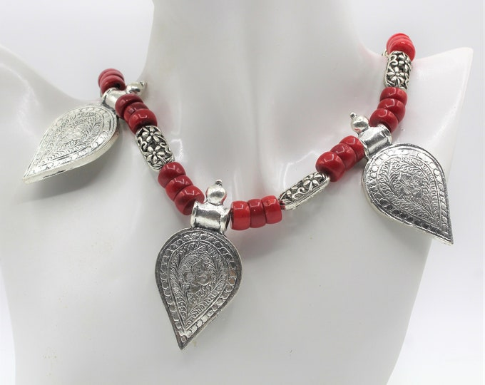 Red coral beaded necklace, tribal motif necklace, red statement necklace, multi pendant necklace, silver pendants necklace, coral choker
