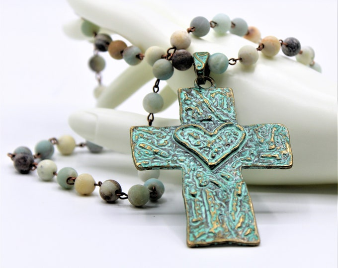 Cross and rosary chain necklace, verdigris cross pendant beaded strand, amazonite rosary chain layering necklace, Boho chic cross necklace