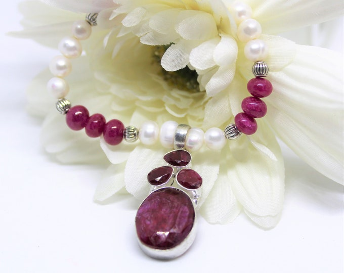 Genuine ruby and pearl necklace, gemstone beaded necklace, July birthstone gift, ruby pendant necklace