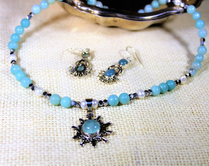 Chalcedony necklace and earrings set, amazonite pendant necklace in a set, beaded necklace in a set, elegant set, gift idea, gift for her