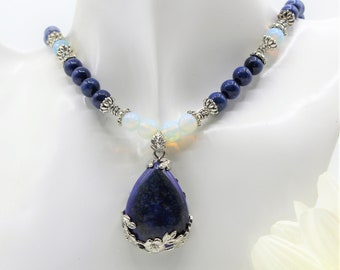 Lapis lazuli pendant beaded necklace with moonstone accents, blue and silver statement accessory, something blue, elegant gift for her