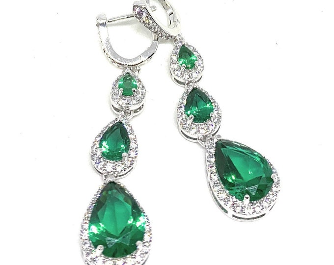 Green topaz dangle earrings, unique glamour drop earrings, elegant bridal accessory, perfect gift for women