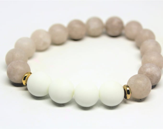 Gemstone beaded bracelet, pink gray and white stacking bracelet, unique gift idea for her, natural gemstone layering bracelet