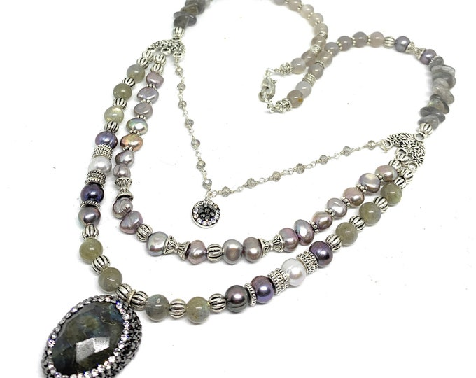 Gray pendant beaded necklace, labradorite multi strand statement necklace, elegant women accessory, gift for her