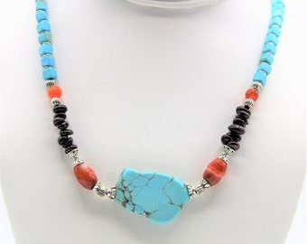 Turquoise necklace, garnet and carnelian necklace, Valentine's day gift, multi gemstone necklace, multi color choker, unique accessory