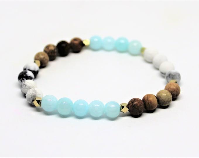 Multi stone beaded bracelet, gemstone stacking bracelet, natural gemstone accessory, unique gift idea for her, multi color bracelet