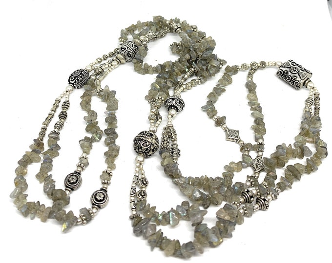 Labradorite long beaded necklace, multi strand gray necklace, gemstone layering necklace, gift for her, gift for mother of the bride