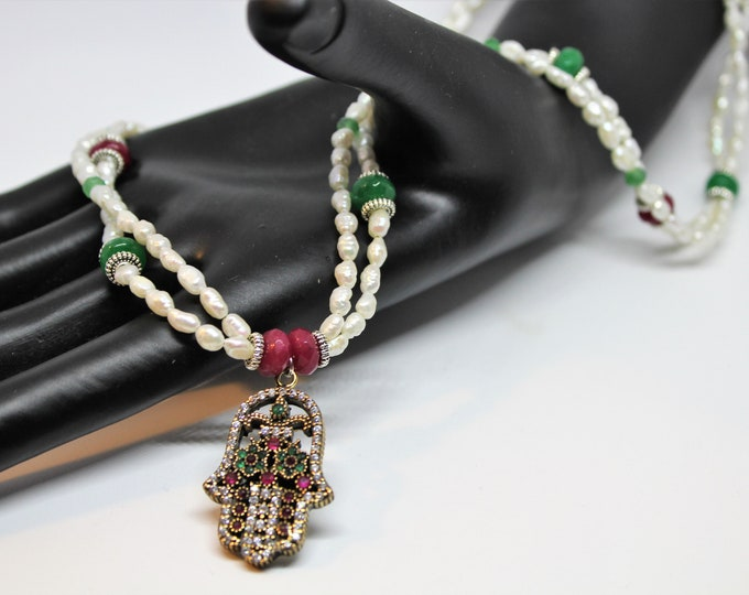 Hamsa pearl and gemstone beaded necklace, multi strand pearl necklace, emerald and ruby pendant necklace, evil eye protection, gift for her