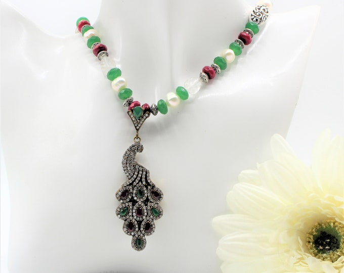Emerald and ruby peacock pendant beaded necklace, natural gemstone bridal accessory, elegant statement necklace, unique wedding gift for her