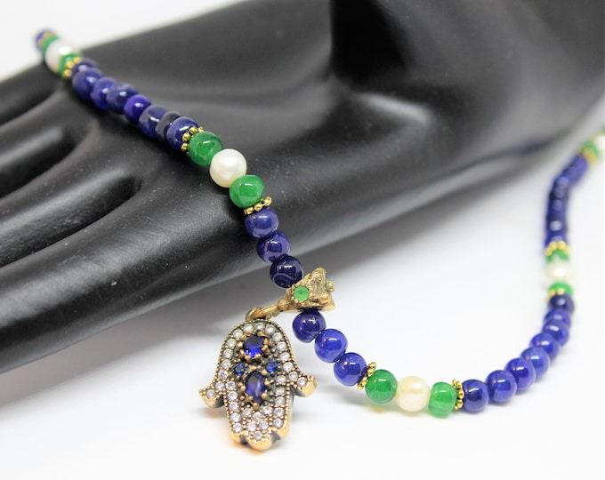 Hamsa pendant beaded necklace, blue sapphire and emerald necklace, unique gift for her, bridal accessory, evil eye protection amulet