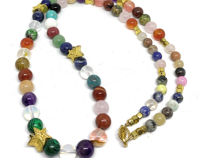 Multi gem beaded necklace, SPECIAL OFFER, colorful star motif strand, layering necklace, unique gift for women