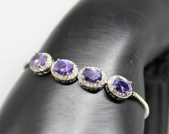 Amethyst bolo bracelet, 925 Sterling silver bracelet, glamour accessory, gift for her, bridal accessory