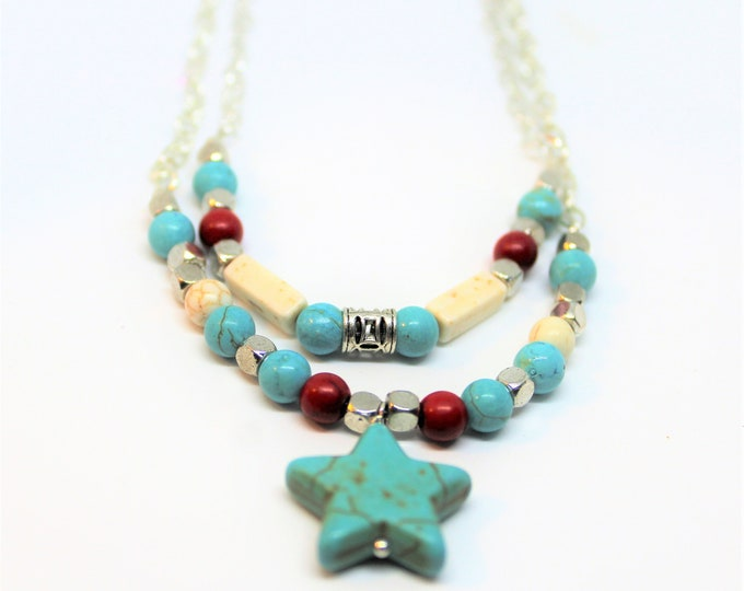 Turquoise necklace, Valentine's Day gift, double strand necklace, star pendant necklace, petite lady accessory, unique gift