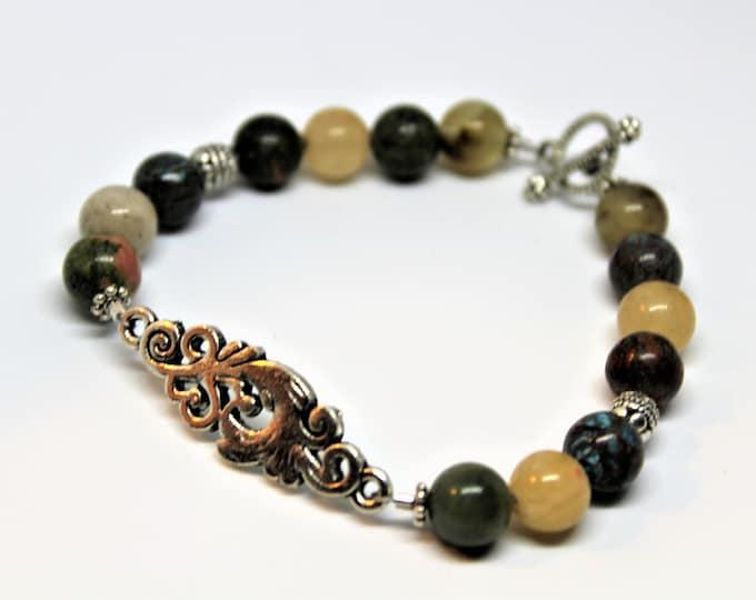 Multi stone beaded bracelet, stacking bracelet, gemstone layering bracelet, fall colors accessory, multi color gift for her, gift for mom
