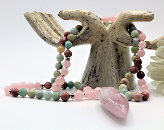 Multi gem long beaded necklace, pastel colors hand knotted strand with rose quartz pendant, layering necklace for women