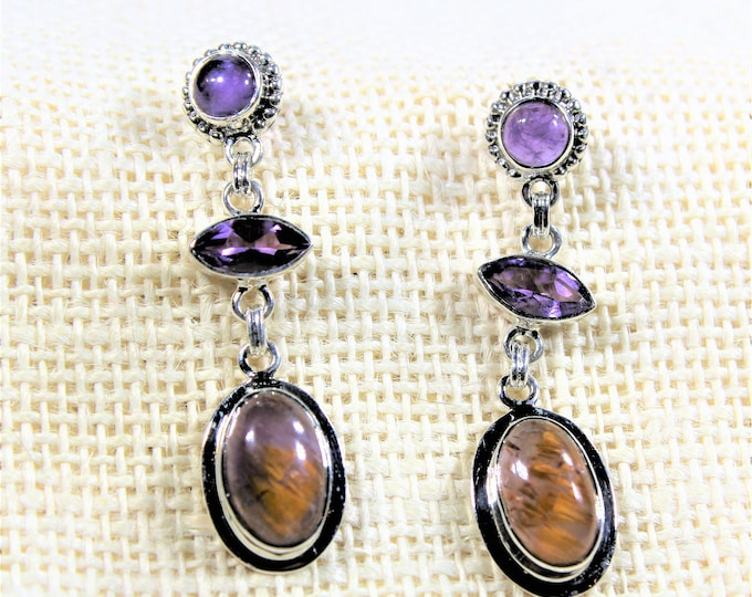 Gemstone drop earrings, amethyst and cacoxenite dangle earrings, unique colorful earrings, elegant everyday accessory, unique accessory
