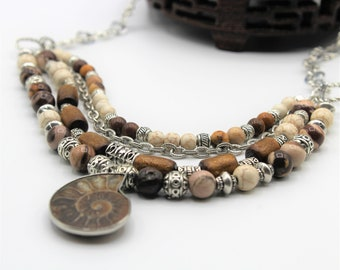 Nautilus brown multi strand necklace, jasper and coral beaded necklace, statement necklace, elegant everyday accessory,fall colors necklace