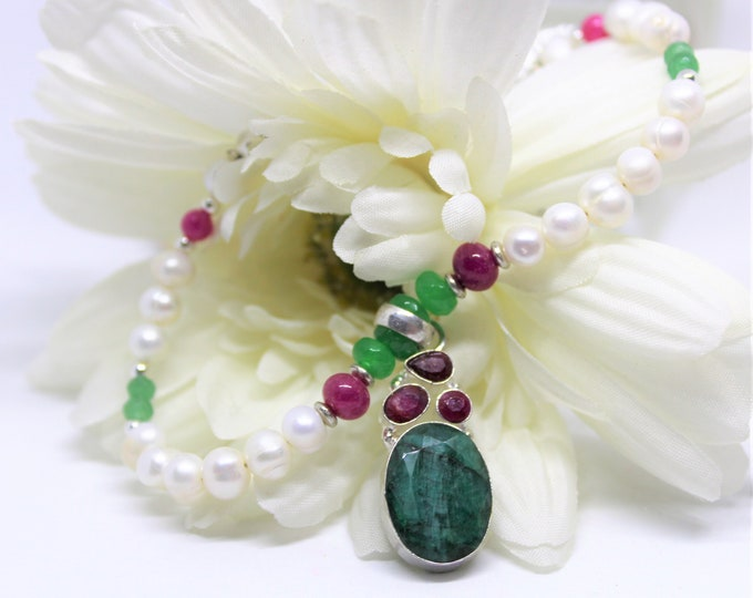 Emerald pendant necklace, emerald ruby and pearl necklace, natural gemstone necklace, colorful necklace, gift idea