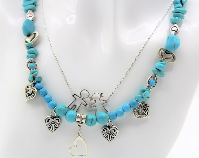 Turquoise and silver necklace, multi strand necklace, mother of two necklace, heart pendants necklace, unique gift for mom