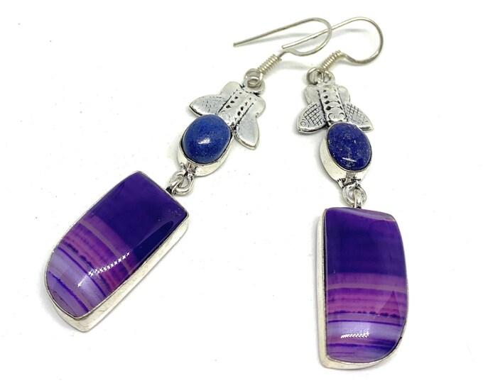 Purple agate drop earrings, long dangle earrings, colorful gemstone accessory, gift for her