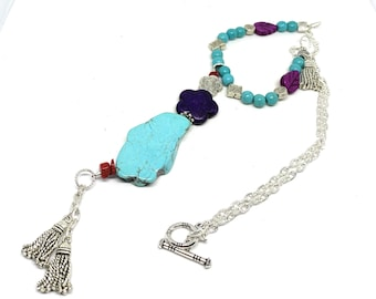 Beaded turquoise tassle Y necklace, blue and purple delicate necklace, dainty whimsical accessory, special gift for women