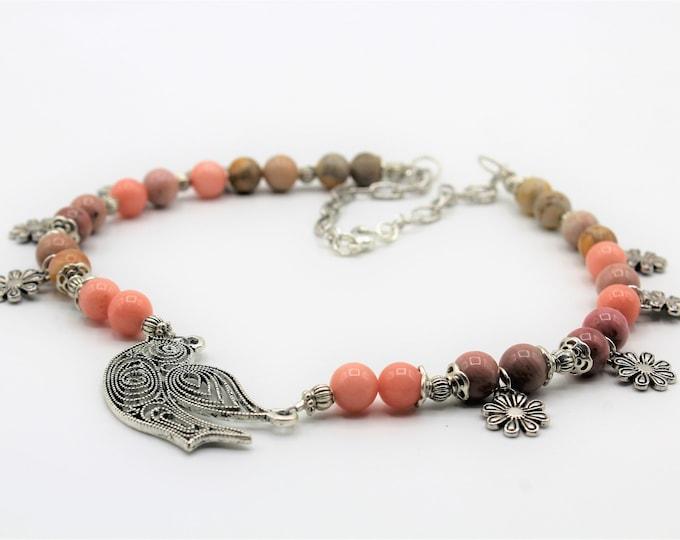 Pink multi stone beaded necklace, bird pendant necklace, delicate statement necklace, nature motif necklace, unique gift idea for women