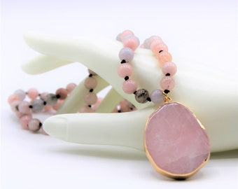 Pink pendant beaded long necklace, hand knotted gemstone necklace, everyday elegant accessory, unique gift idea for her
