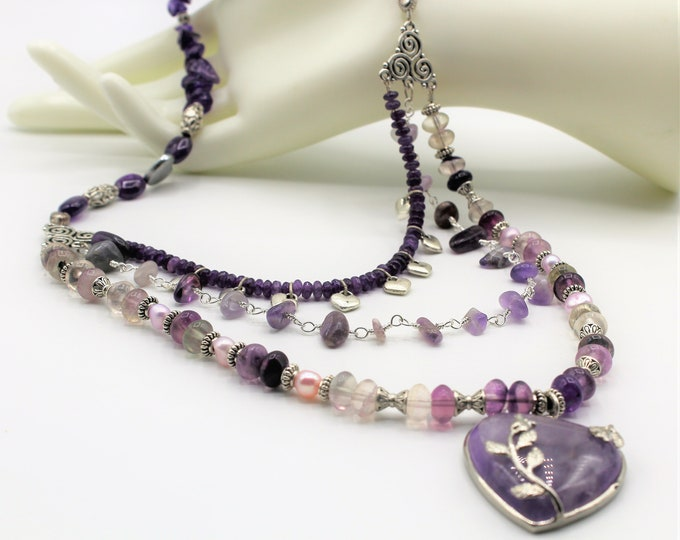 Amethyst heart beaded necklace,purple heart pendant necklace, Valentine's Day gift, multi strand amethyst necklace, long necklace