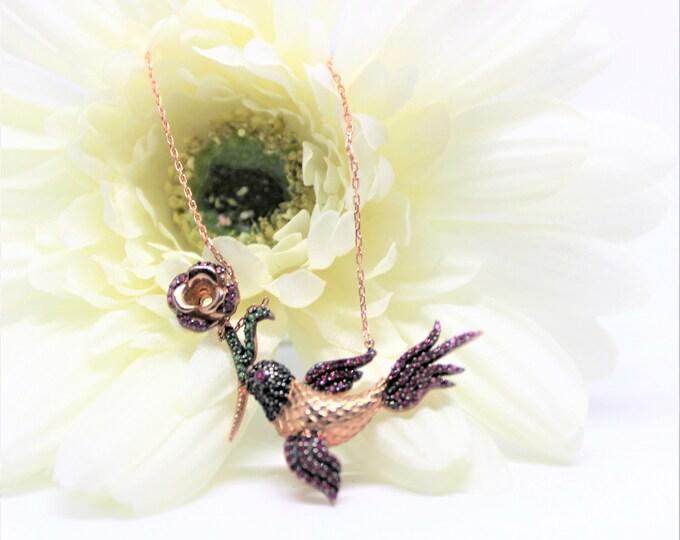 Delicate gemstone necklace, bird pendant necklace, multi color pendant necklace, unique gift idea for her, colorful accessory