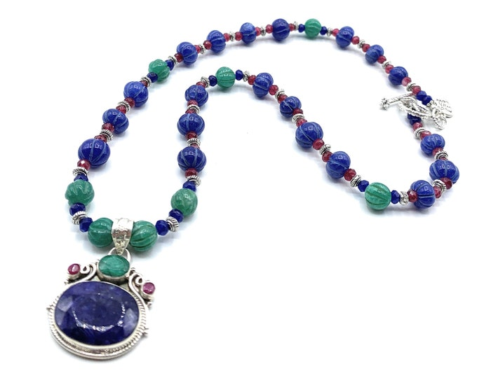 Blue sapphire and gemstone pendant beaded necklace, emerald and ruby glamour accessory, bridal accessory, unique gift for her