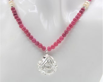 Ruby beaded necklace, Sterling silver flower pendant necklace, elegant red necklace, unique gift for her, delicate ruby and silver necklace