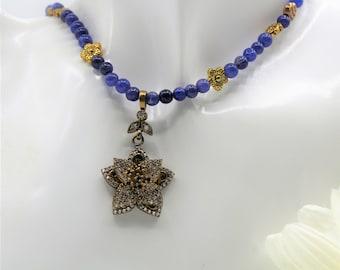Natural blue sapphire beaded necklace, unique flower jewel pendant necklace, perfect bridal accessory, wedding accessory, plus size choker