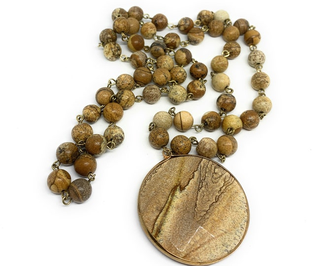 Brown gemstone pendant in a rosary chain necklace, fall colors accessory for women