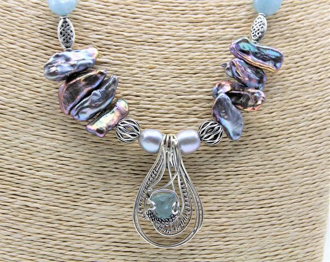 Aquamarine beaded necklace, statement necklace, whimsical pendant necklace, long blue necklace