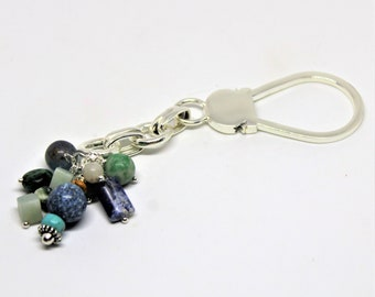 Gemstone keychain, silver keychain, unique accessory, beaded keychain, multi stone keychain, colorful accessory, gift idea, gift for him