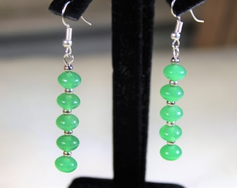 Emerald drop earrings, SPECIAL OFFER, sterling silver dangle earrings, elegant accessory, unique gift idea for her, Mother's Day gift