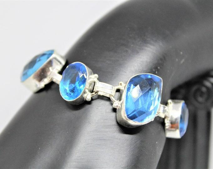 Blue topaz bracelet, Sterling silver bracelet, chain bracelet,unique gift for her, elegant accessory, glamorous accessory