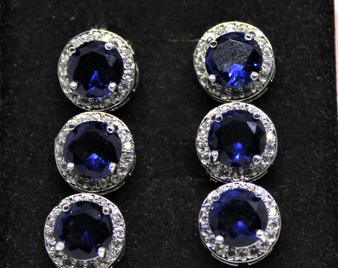 Blue sapphire drop earrings, ruby dangle earrings, emerald drop earrings, 925 Sterling silver earrings, glamour accessory, Hollywood glamour