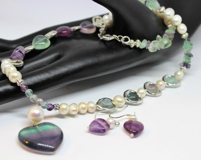 Fluorite beaded necklace and earrings set, heart pendant necklace and earrings, Valentine's Day gift, multi color gemstone statement set