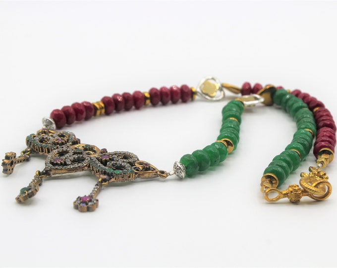 Emerald and ruby jewel statement necklace, Valentine's day gift, Christmas colors necklace, heart motif bridal accessory,mother of the bride