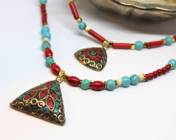 Turquoise tribal beaded necklace, Tibetan pendant long necklace, Boho chic necklace, colorful multi strand necklace, unique gift for her