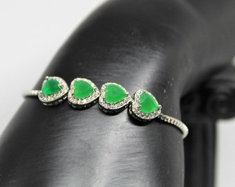 Natural emerald bolo bracelet,  925 Sterling silver bracelet, heart shaped gemstone bracelet, Valentine's day gift