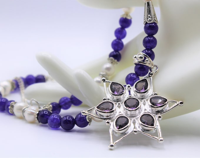 Amethyst star pendant beaded long necklace, elegant statement purple necklace, wedding party accessory, mother of the bride gift