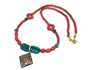 Delicate red turquoise beaded necklace, dainty tribal pendant necklace, boho chic accessory, colorful sweet sixteen gift
