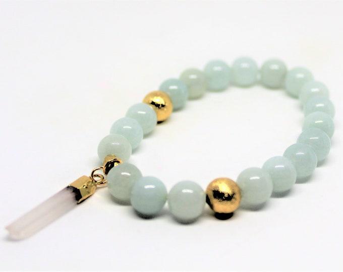 Amazonite charm bracelet,  gemstone stacking bracelet, elegant accessory, unique gift idea for her, layering bracelet, Mother's Day gift