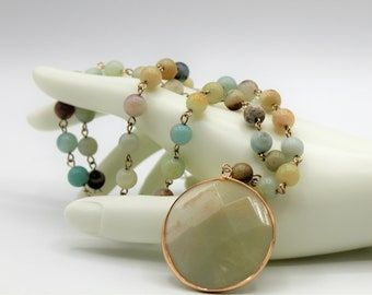 Amazonite Y necklace, colorful rosary chain necklace, pendant Y necklace, gift idea for her