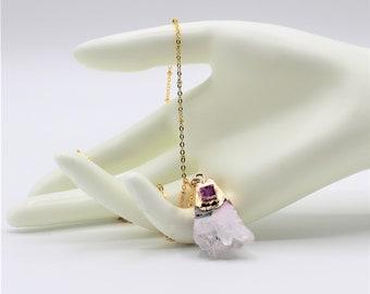 Delicate rose quartz necklace, raw gemstone slice necklace, elegant accessory, bridesmaid gift, unique gift for her,dainty gemstone necklace