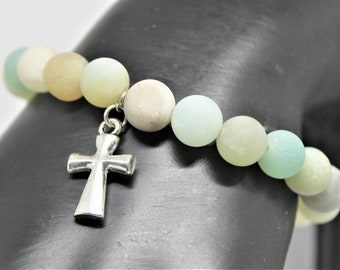 Amazonite stretch bracelet, frosted amazonite stacking bracelet, matte gemstone beaded bracelet, cross charm, gift idea for her