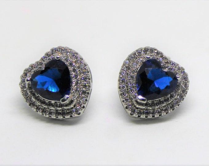 Blue sapphire stud earrings, 925 Sterling silver earrings, natural gemstone earrings, unique gift idea for her