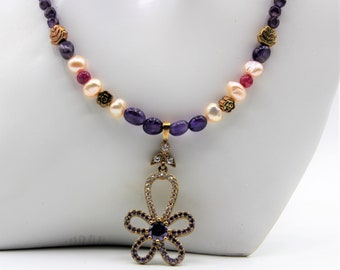 Amethyst and pearl beaded necklace, flower pendant necklace, delicate purple necklace, ruby accents necklace, unique gift idea for her